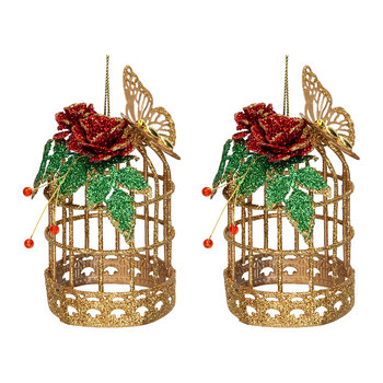 Metal Birdcage Tree Decoration - Set of 2