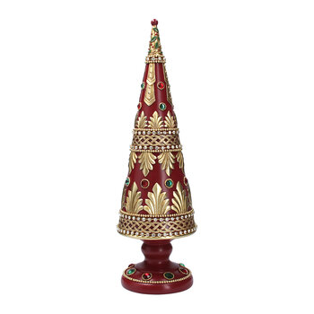 Cone Tree Ornament with Jewels - Red/Gold