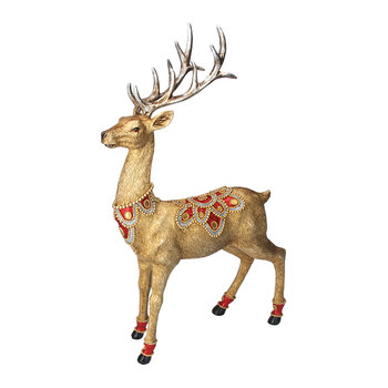 Stag with Jewels Ornament - Gold/Red