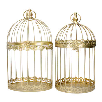 Wire Birdcage Ornament - Set of 2