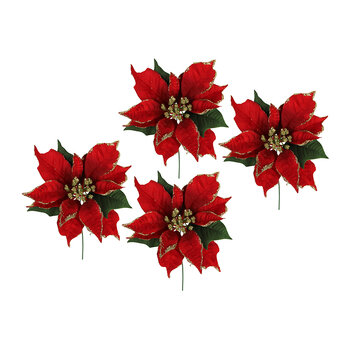 Red Poinsettia Pick - Set of 4
