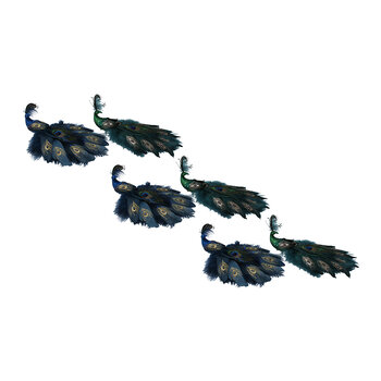 Glitter Peacock Feather Clip - Set of 6 - Blue/Green