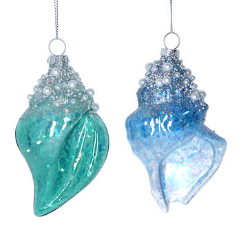 Glass Shell Tree Decorations - Set of 2 - Blue/Green