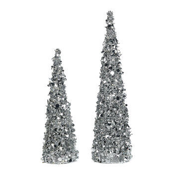 Disc Sequin Tree Ornament - Set of 2 - Silver