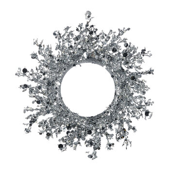 Disc Sequin Twig Wreath - Silver