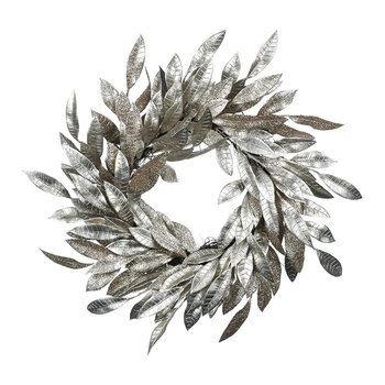 Glitter Leaf Wreath - Champagne