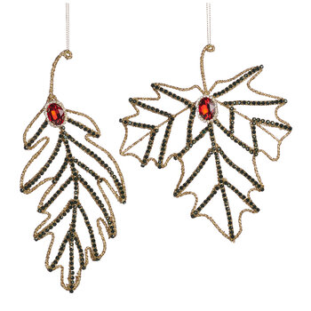 Wire Beaded Leaf Tree Decoration - Set of 2