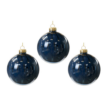 Cracked Effect Glass Bauble - Set of 3 - Blue