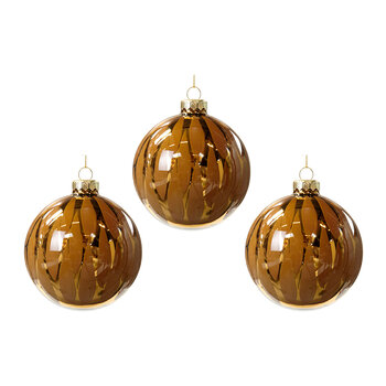 Cracked Effect Glass Bauble - Set of 3 - Gold