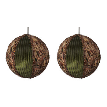 Fabric & Feather Bauble - Set of 2 - Green