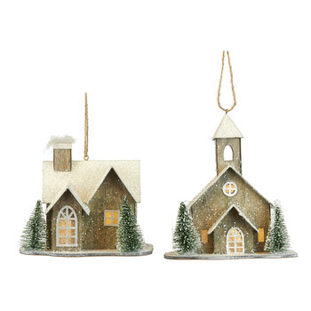 Light Up House Tree Decoration - Set of 2