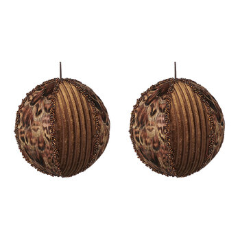 Fabric & Feather Bauble - Set of 2 - Copper