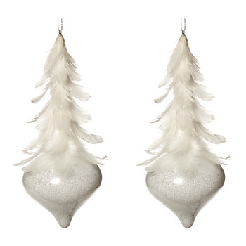 Glass Feather Topped Tree Decoration - Set of 2 - Ivory