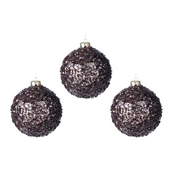 Sequin Glass Bauble - Set of 3 - Aubergine