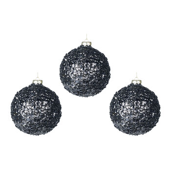 Sequin Glass Bauble - Set of 3 - Chrome
