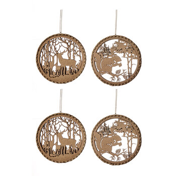 Wooden Cutout Deer & Squirrel Scene Tree Decoration - Set of 4