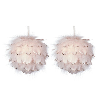Feather Baubles - Set of 2 - Pink