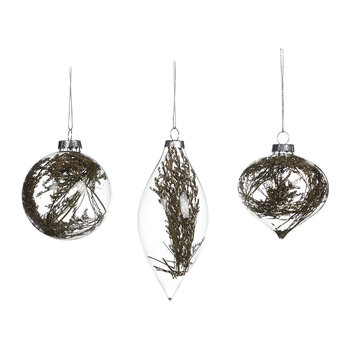 Dried Flower Filled Glass Bauble - Set of 3