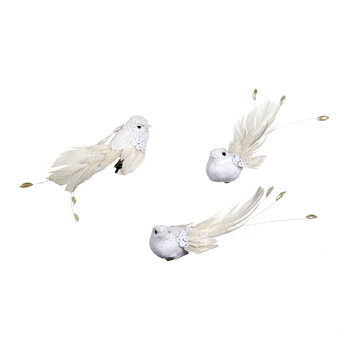 Pearl & Sequin Bird Clip Tree Decoration - Set of 3 - White