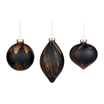 Marble Effect Glass Bauble - Set of 3 - Black/Brass