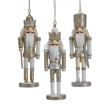 Nutcracker Tree Ornament - Set of 3 - White/Silver