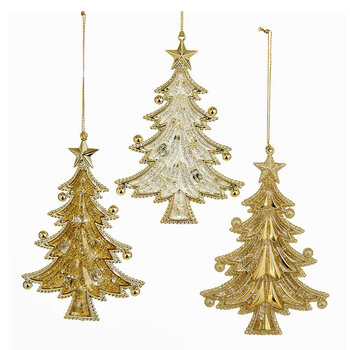 Gold Assorted Tree Decoration - Set of 3