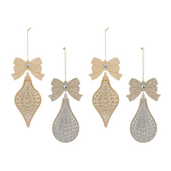 Gold & Silver Giltter Tree Decoration With Bow - Set of 4