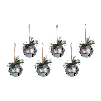Metal Bell Tree Decoration - Set of 6 - Silver