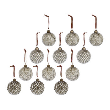 Assorted Decorative Baubles - Set of 12 - Gold