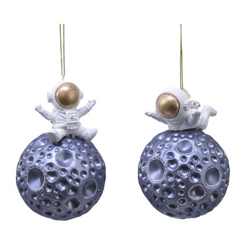 Astronaut on the Moon Tree Decorations - Set of 2