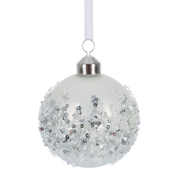 Beaded Ice Baubles - Set of 12 - White/Silver