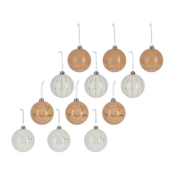 Crackle Effect Bauble - Set of 12 - Ivory/Camel