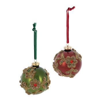 Decorative Flower Bauble - Set of 2 - Red/Green