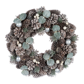 Frosted Pinecone & Pearl Berry Wreath
