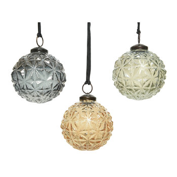 Glass Decorative Baubles - Set of 3 - Grey/Brown/Sage