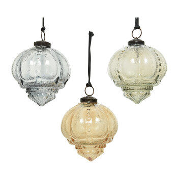 Glass Pendant Baubles - Set of 3 - Grey/Brown/Sage