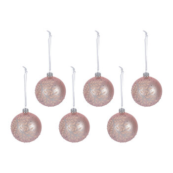 Glitter Fern Leaf Baubles - Set of 6 - Blush Pink