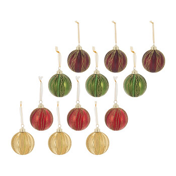 Glitter Wave Line Bauble - Set of 12 - Red/Gold/Green