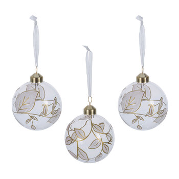 Gold Glitter Leaf Bauble - Set of 3