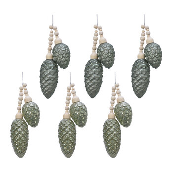 Pinecone Rustic Tree Decorations - Set of 6 - Sage Green