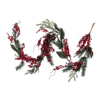 Red Berry & Pinecone Garland