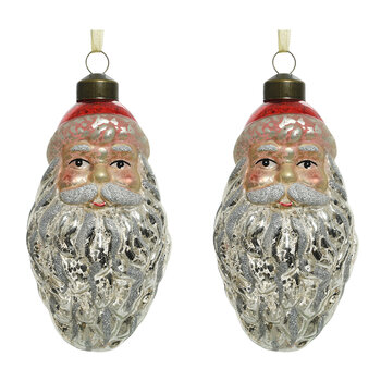 Retro Santa Tree Decoration - Set of 2