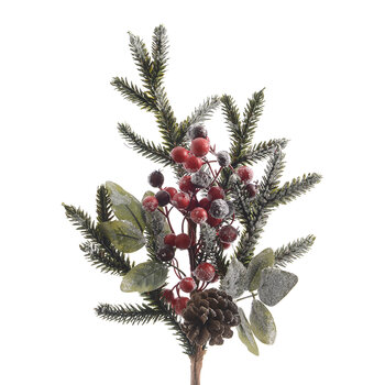 Snow Berries & Pinecone Branch