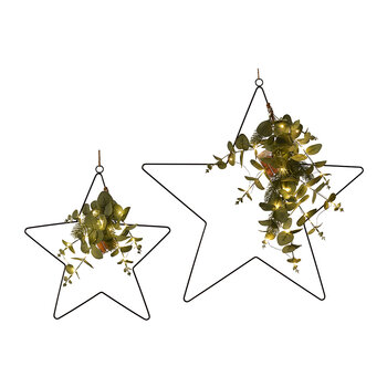 Star Hanging Ornament with Pre-Lit Leaves