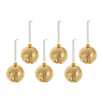 Decorative Swirl Bauble - Set of 6 - Light Gold