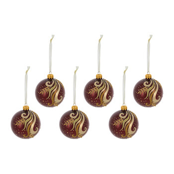 Decorative Swirl Bauble - Set of 6 - Oxblood
