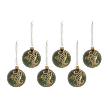 Decorative Swirl Bauble - Set of 6 - Pine Green