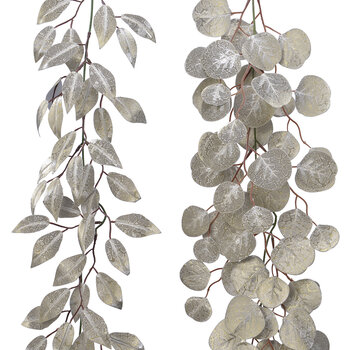 Glitter Leaf Garland - Set of 2 - Champagne