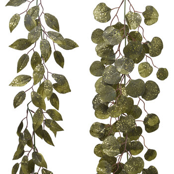 Glitter Leaf Garland - Set of 2 - Green