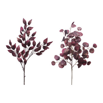 Glitter Leaf Spray - Set of  2 - Burgundy